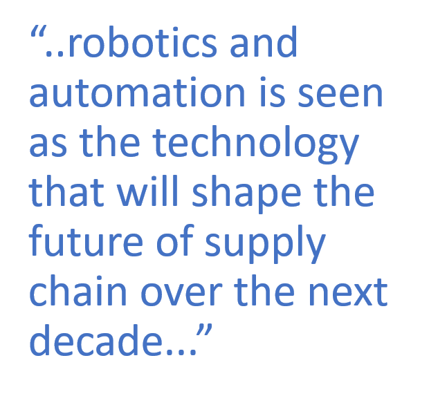 """..robotics and automation is seen as the technology that will shape the future of supply chain over the next decade..."""