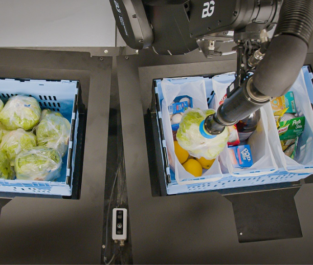 Pick, pack, and sort individual items directly into totes, shopping bags, and other order containers.