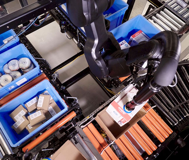 Eliminate touches by converting goods-to-person stations into goods-to-robot stations and enable placement directly to shipping packages.